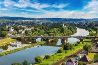 Panoramic aerial view of Trier in a beautiful summer day, Germany
